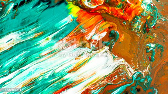 istock Close up of different acrylic color paint abstract background 1178253921