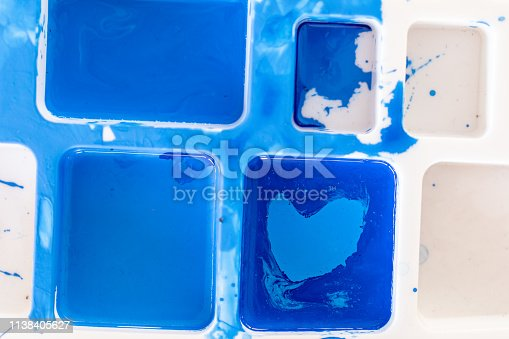 istock Close up of different color oil paint, Patterns or backgrounds of various colors, colors on the fabric. 1138405627
