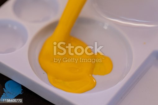 istock Close up of different color oil paint, Patterns or backgrounds of various colors, colors on the fabric. 1138405770