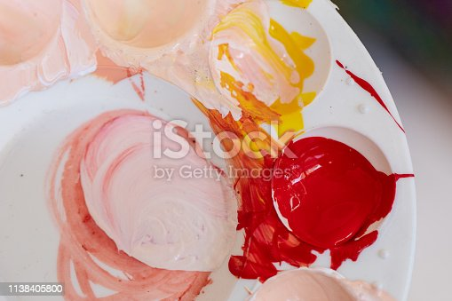 istock Close up of different color oil paint, Patterns or backgrounds of various colors, colors on the fabric. 1138405800