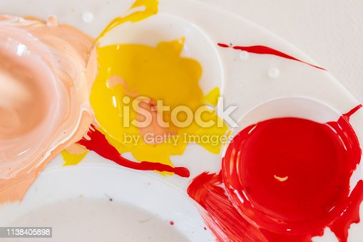 istock Close up of different color oil paint, Patterns or backgrounds of various colors, colors on the fabric. 1138405898