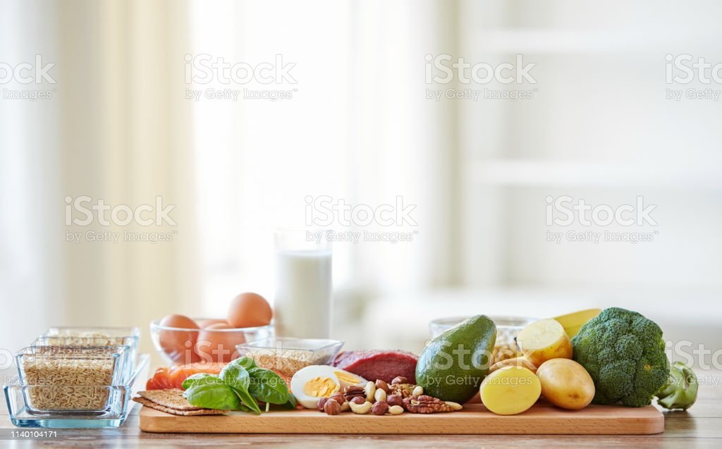 balanced diet, cooking, culinary and food concept - close up of...