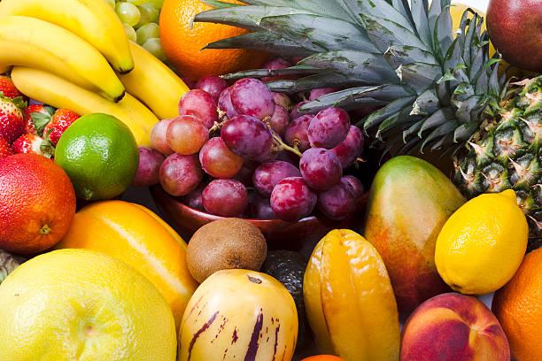 클로즈업 다양한 과일 - 열대 과일 뉴스 사진 이미지