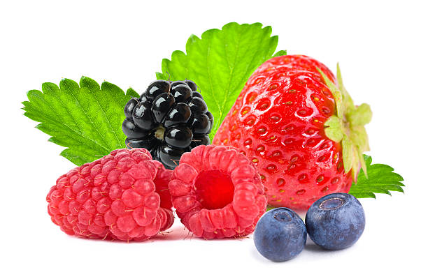 close up of different mixed berry fruits - berry stock photos and pictures