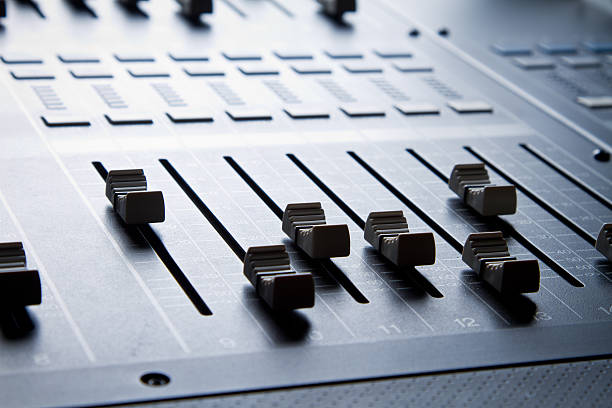 Close up of Digital sound mixing console stock photo