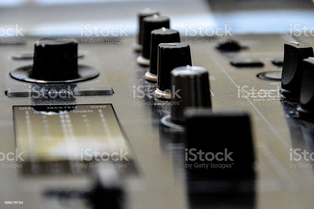 Close up of DJ studio equipment stock photo