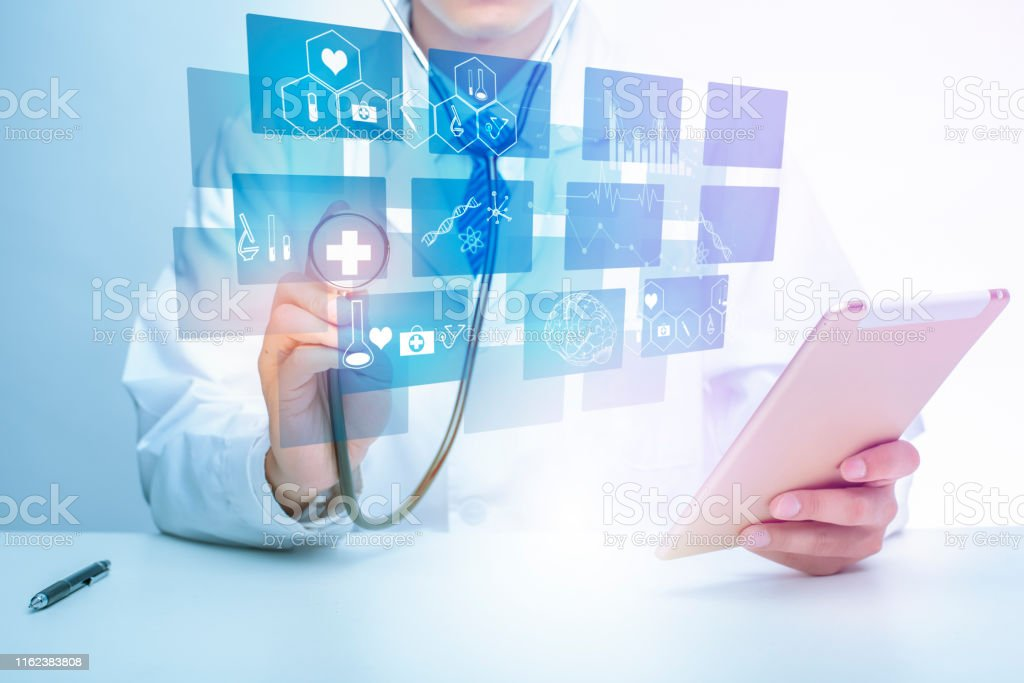 Close up of Doctor is showing medical analytics data, Medical...