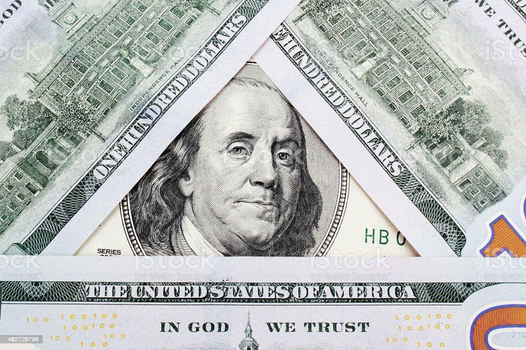 close-up de dólares americanos - foto de acervo