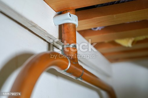 close up of domestic copper pipe plumbing