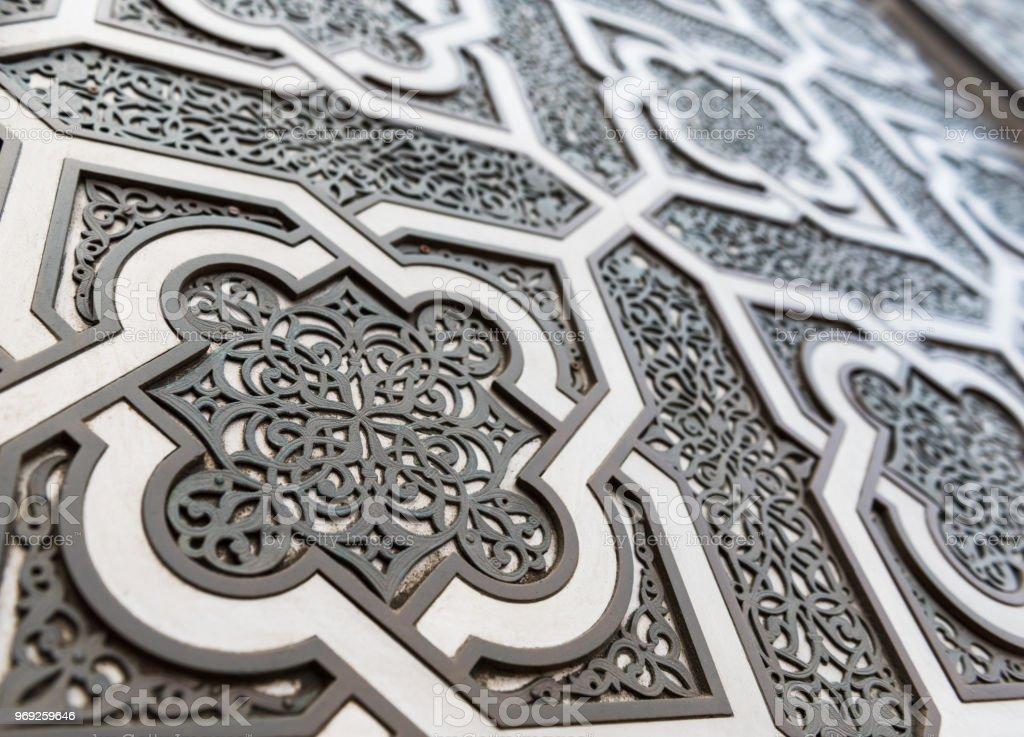 Close up of door, Mosque Hassan II, Casablanca, Morocco stock photo