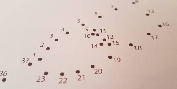 close up of dots with numbers stock photo