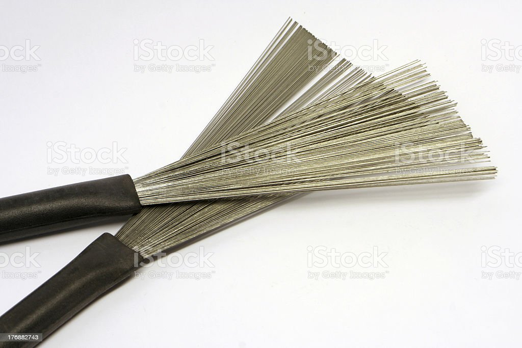 Close up of drum brushes royalty-free stock photo