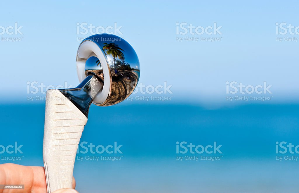 Close up of duohead hip prosthesis stock photo