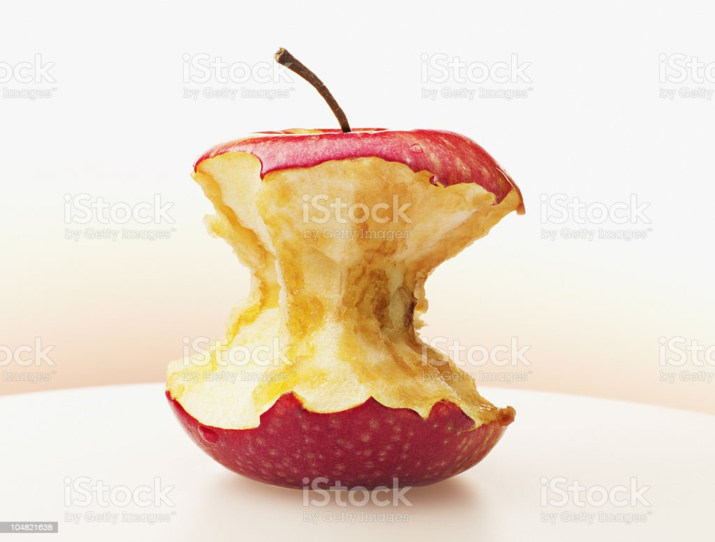 Close up of eaten red apple stock photo