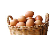 Close up of Eggs in the basket isolated on white background