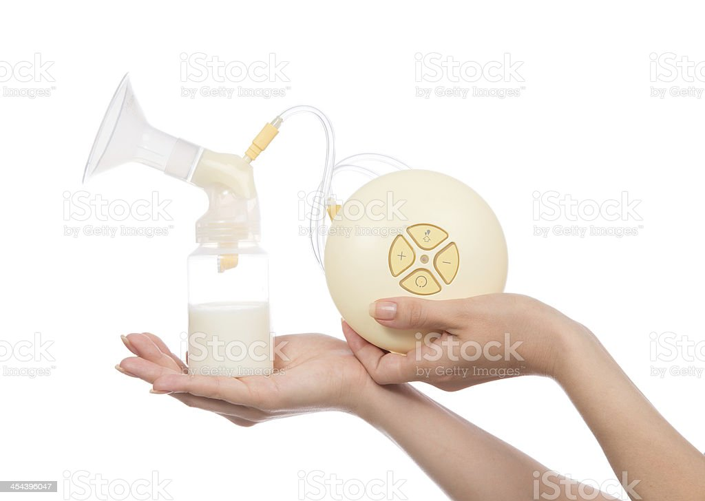 Close up of electric breastpump on white royalty-free stock photo