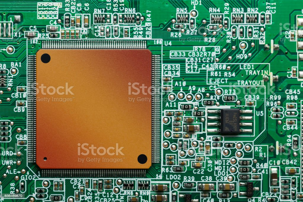 Close up of electronic circuit board stock photo