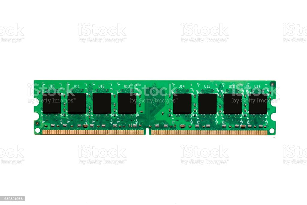 Close up of Electronic Ram(random access memory) on Mainboard computer stock photo