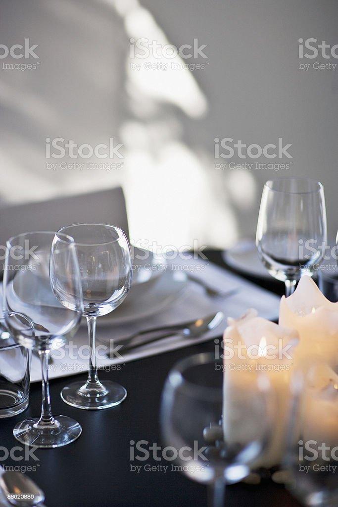 Close up of elegant place setting royalty-free stock photo
