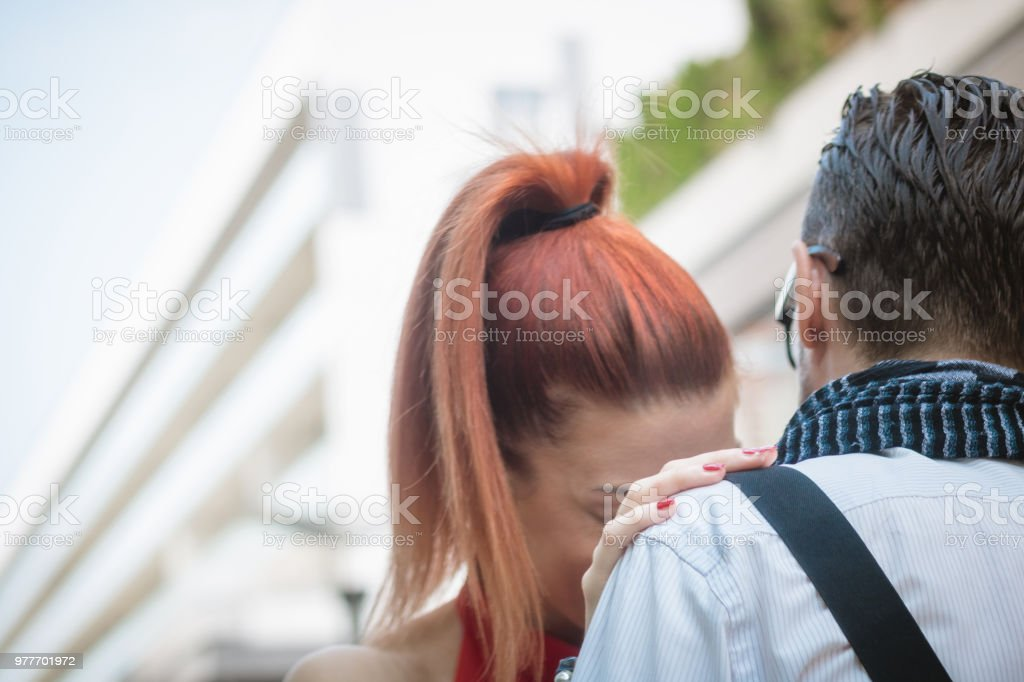 Close up of embraced couple. stock photo