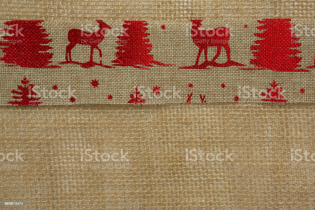 Close up of embroidered burlap stock photo