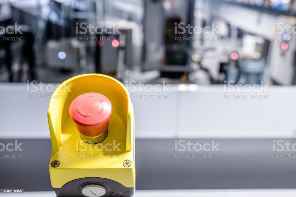 Close up of emergency button stock photo