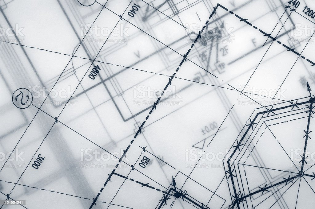 Close up of engineering blueprint print out royalty-free stock photo