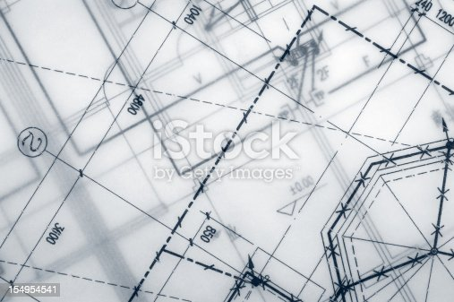 istock Close up of engineering blueprint print out 154954541