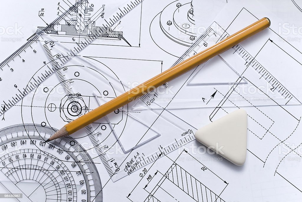 Close up of engineering drawing royalty-free stock photo