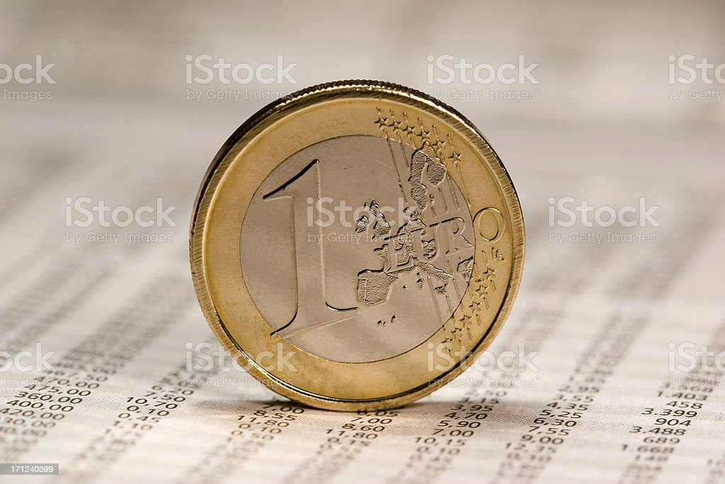 Close up of euro coin royalty-free stock photo
