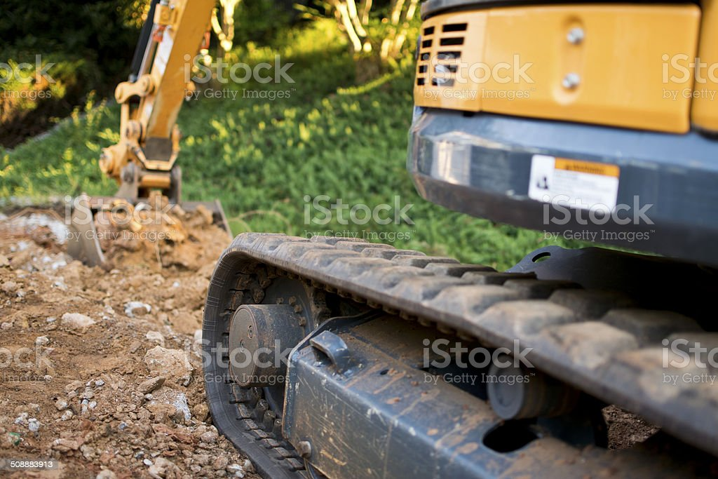 Close up of Excavator Treads stock photo