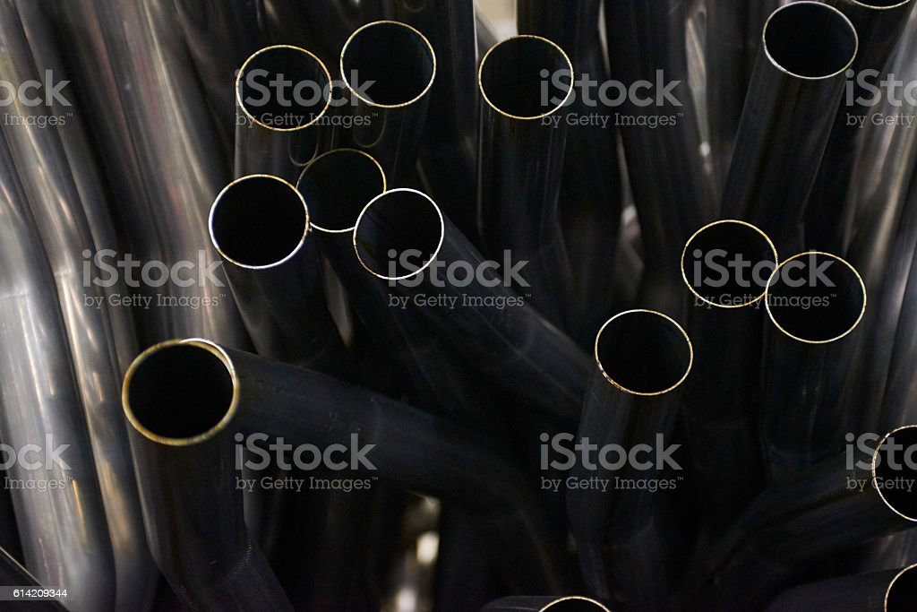 Close up of Exhaust Pipes in factory. Industrial background. stock photo