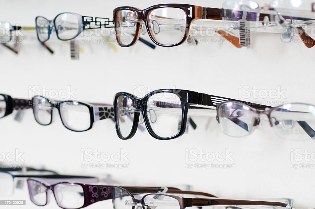 Close up of Eyeglass Frames Display stock photo