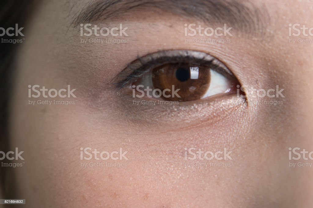 Close up of eyes and facial wrinkles. Asian women stock photo