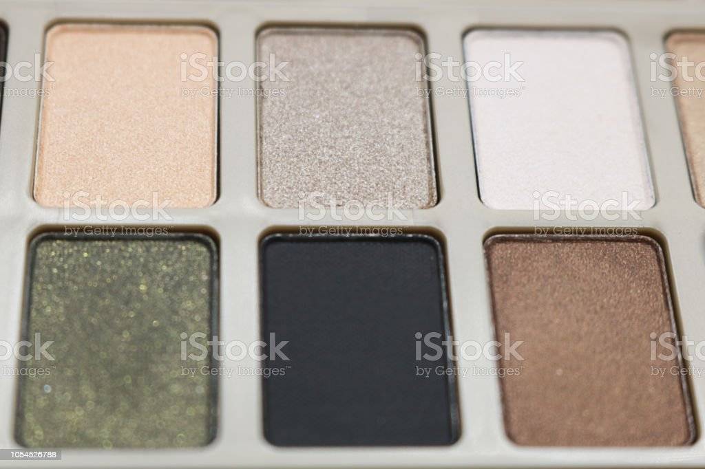 Close up of eyeshadow, makeup and beauty concept. stock photo