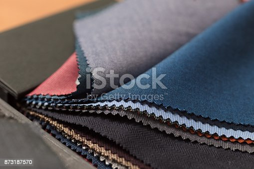 istock Close up of fabric swatch book with various wools. 873187570