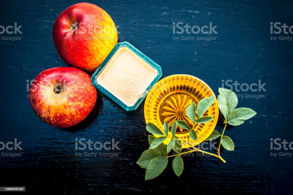 Close up of face pack of apple i.e. apple pulp mixed with honey to...