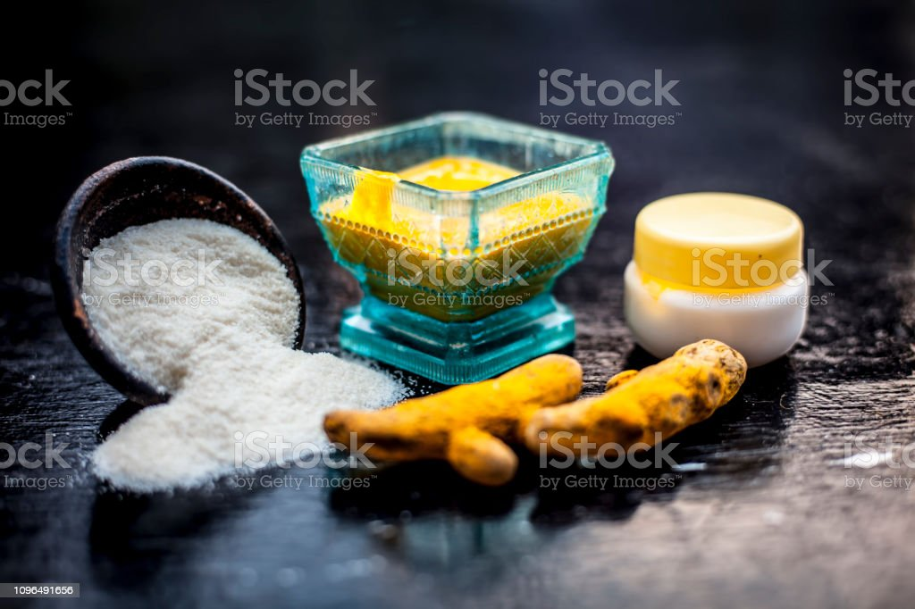 Close up of face pack of rice flour with fresh face cream and...