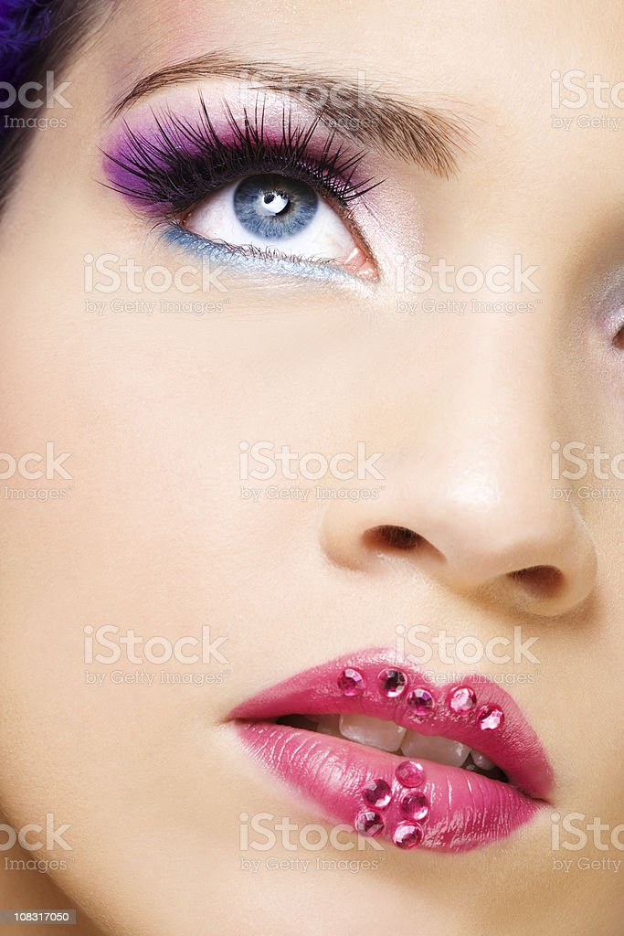 close up of face with beautiful make-up royalty-free stock photo