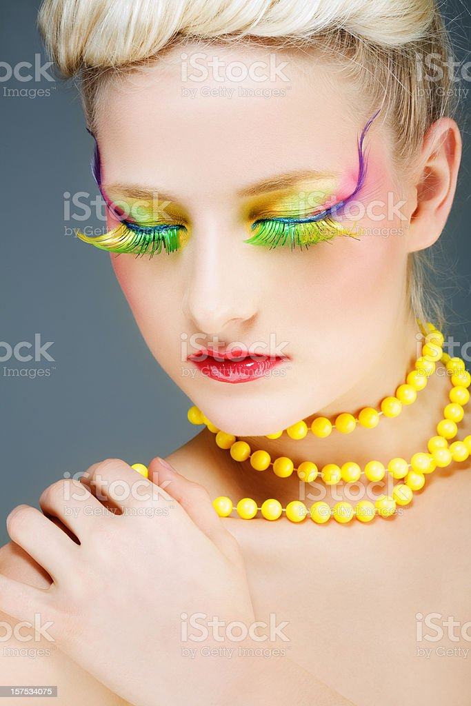 close up of face with multicolored make-up royalty-free stock photo