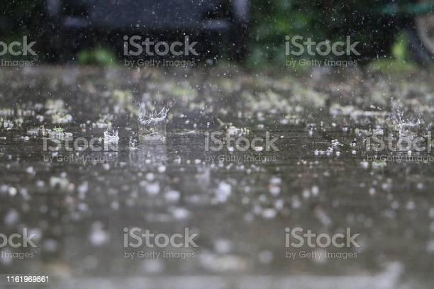 Photo of close up of falling and splashing rain on the street