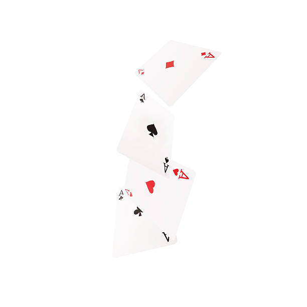 Close up of falling playing cards. Aces Close up of falling  playing cards. Aces. detach stock pictures, royalty-free photos & images