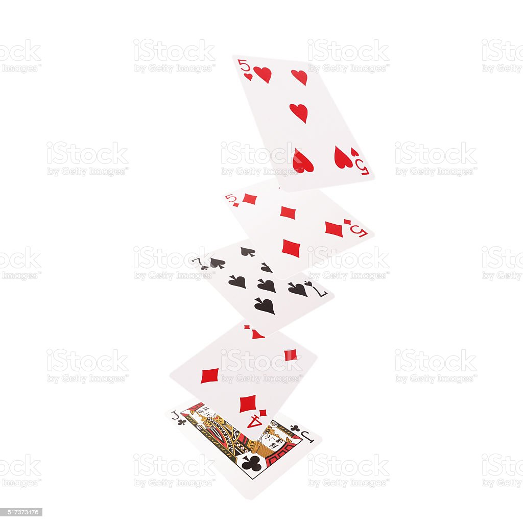 Close up of falling playing cards. One pair stock photo