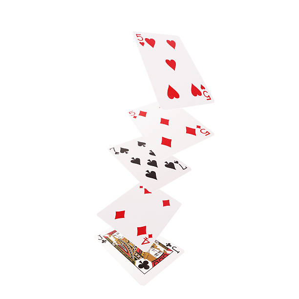 Close up of falling playing cards. One pair Close up of falling playing cards. One pair. detach stock pictures, royalty-free photos & images
