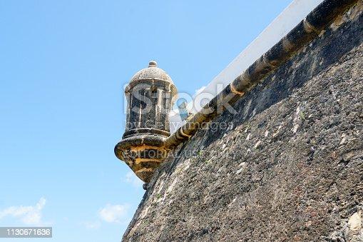Close up of Farol da Barra (Barra Lighthouse) in Salvador, Bahia, Brazil.  The historic architecture of Salvador in Bahia, the Farol da Barra Lighthouse at Bahia de Todos os Santos Bay.