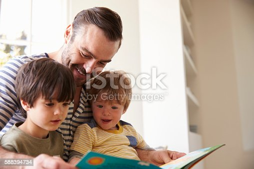 istock Close Up Of Father And Sons Reading Story At Home 588394734