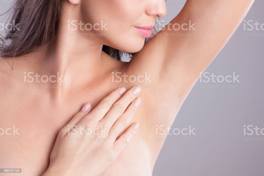 Close up of female armpit. stock photo