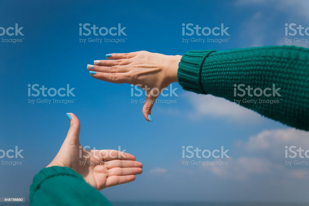Close up of female caucasian hands stock photo