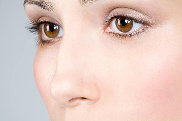 Close up of female eyes stock photo
