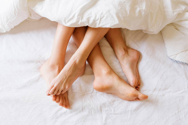 Close up of female feet. stock photo